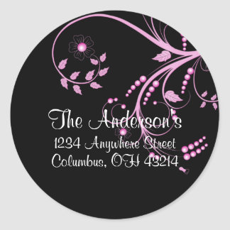 Black with Purple Vine/Leaves Address Labels Classic Round Sticker