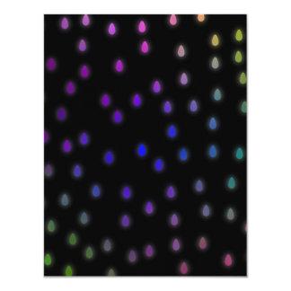 Black with rainbow color rain drops. card