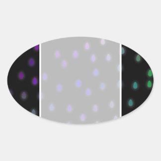 Black with rainbow color rain drops. oval sticker