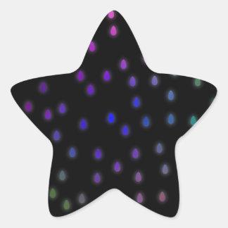 Black with rainbow color rain drops. star sticker