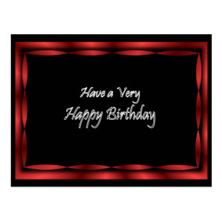 Black with Red Ribbon Happy Birthday - customize Postcard