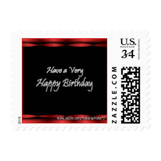 Black with Red Ribbon Happy Birthday Stamp