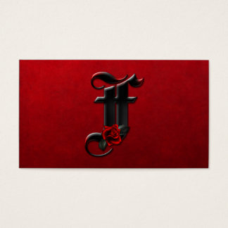 Black with Red Roses Initial F Goth Business Card