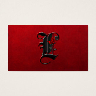Black with Red Roses Initial L Goth Business Card