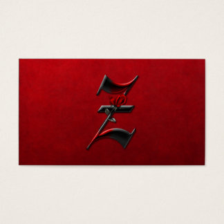 Black with Red Roses Initial Z Goth Business Card