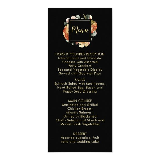 Black with Rustic Autumn Fall Flowers Menu