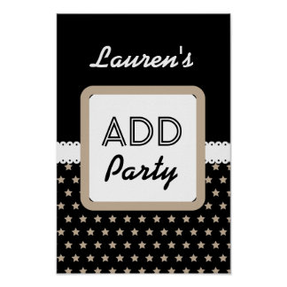 Black with Sand Stars Theme Any Occasion F01Z Poster