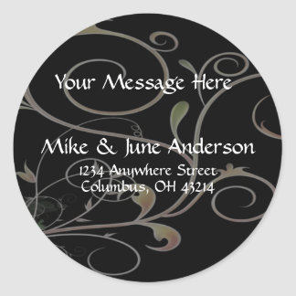 Black with Scrollwork Background Address Labels Classic Round Sticker