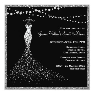 Black with Silver Glitter Sweet 16 Card