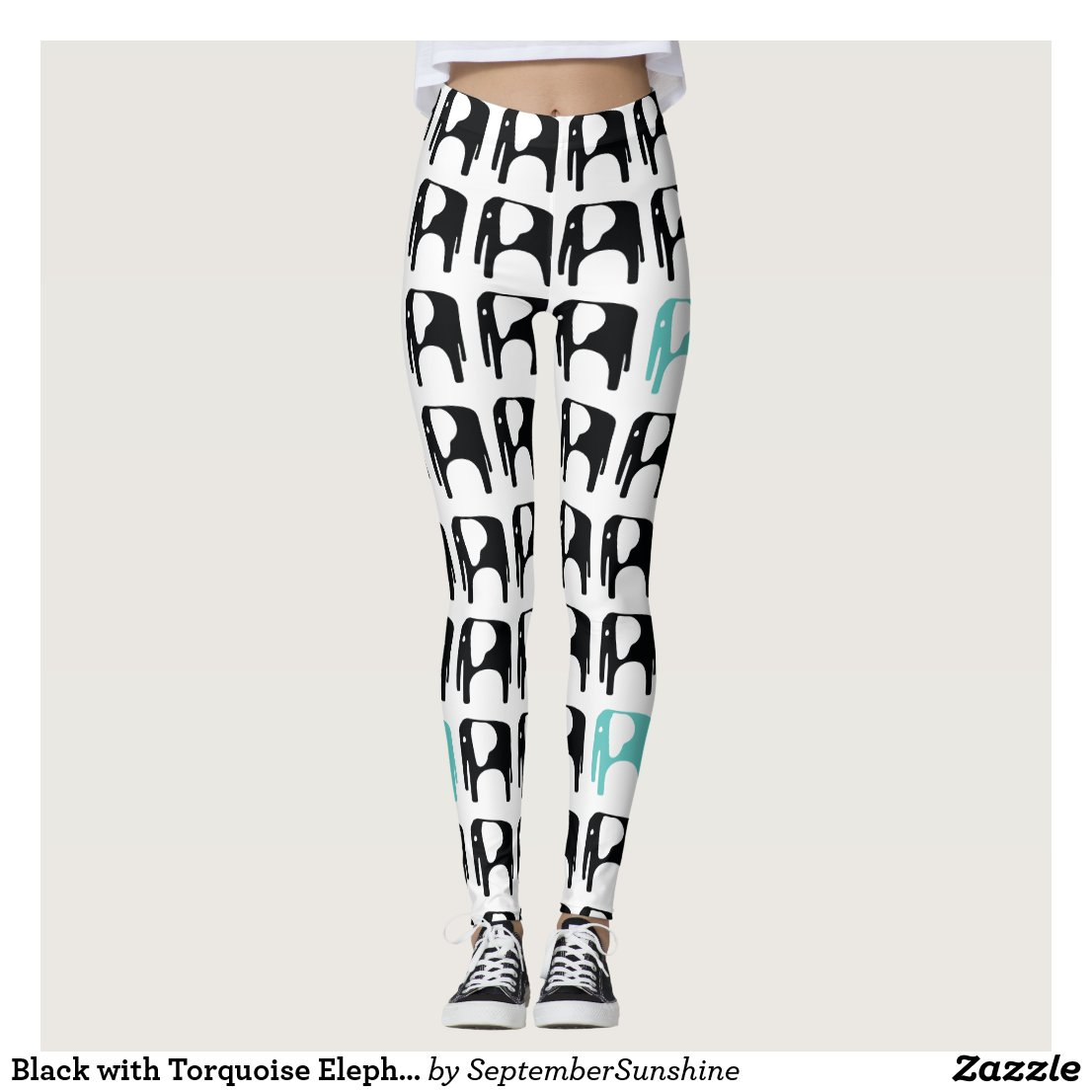 Black with Torquoise Elephant Leggings