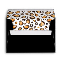 Black with Watercolor Leopard Print Liner Envelope