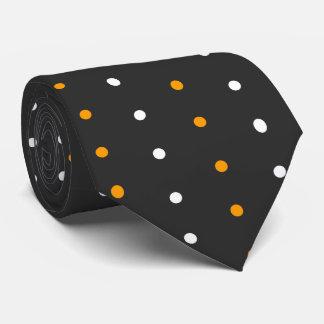 Black with White and Orange Polka Dot Halloween Tie