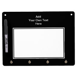 Black with White Area and Custom Text. Dry Erase Board With Keychain Holder