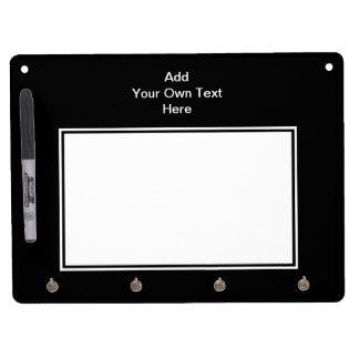 Black with White Area and Custom Text. Dry Erase Whiteboards
