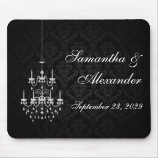 Black with White Chandelier Silhouette Mouse Pad
