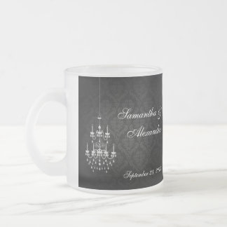 Black with White Chandelier Silhouette 10 Oz Frosted Glass Coffee Mug