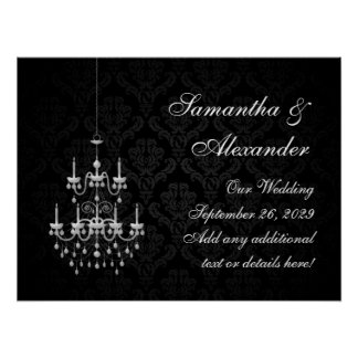 Black with White Chandelier Silhouette Poster