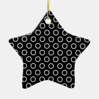 Black with White Circles, Polka Dots Double-Sided Star Ceramic Christmas Ornament