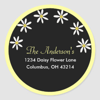 Black with White Daisies Address Labels Classic Round Sticker