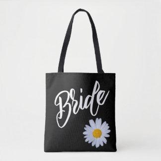 Black with White Daisy Bride Tote Bag