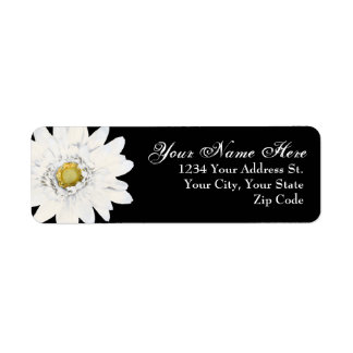 Black with White Daisy Return Address Labels