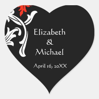 Black with White Damask Wedding Envelope Seals Heart Sticker