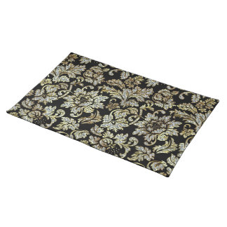 Black With White Diamonds Glitter Floral Damasks Placemat
