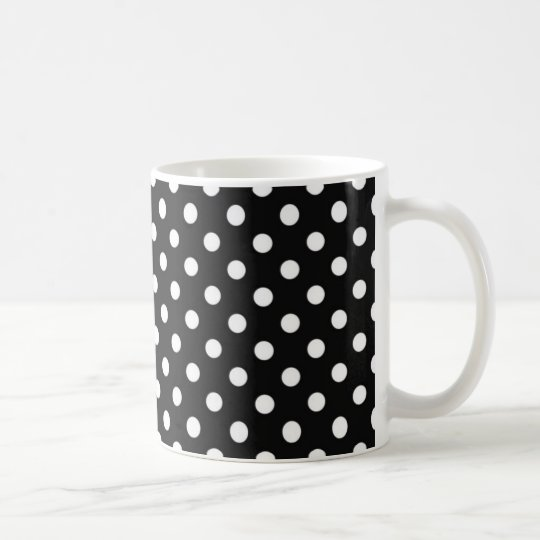 Black with white dots coffee mug