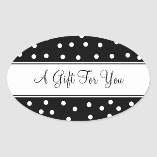 Black With White Dots Oval Sticker