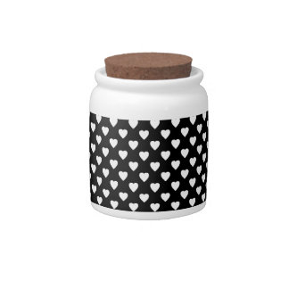 Black With White Hearts Candy Jars