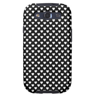 Black With White Hearts Samsung Galaxy SIII Cover
