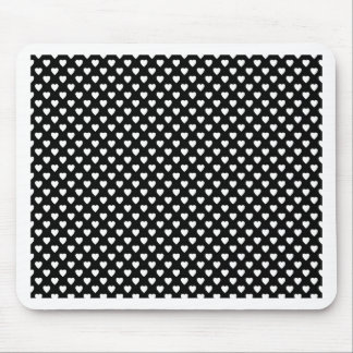 Black With White Hearts Mouse Pad