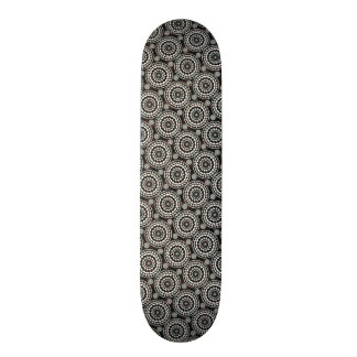 Black With White Lace Rounds Pattern Skateboard