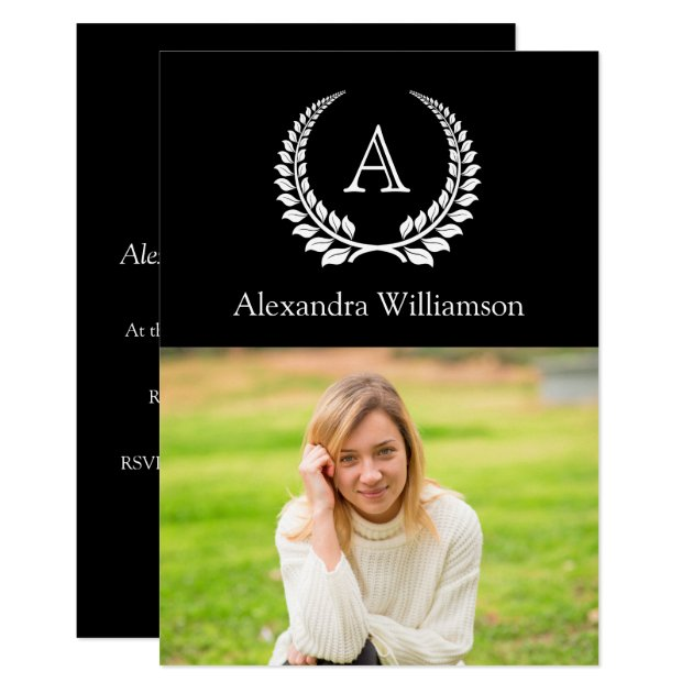 Black with White Monogram Laurel Photo Graduation Card (front side)