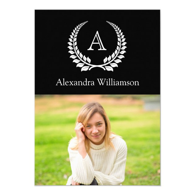 Black with White Monogram Laurel Photo Graduation Card (back side)