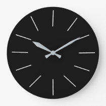 Black with White Numerals> Plain Kitchen Clocks