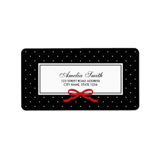 Black with White Polka Dot and Red Ribbon Address Label