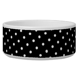 Black with White Polka Dots Patterned Pet Bowl
