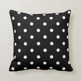Black with White Polka Dots Throw Pillow