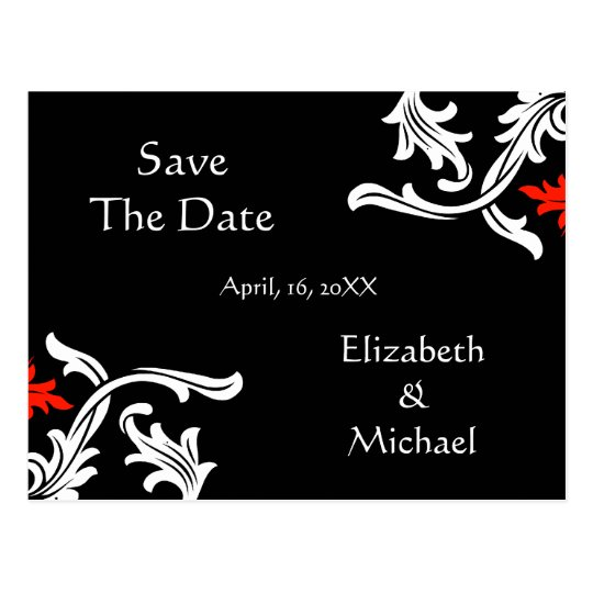 Black with White, Red Damask Wedding Save The Date Postcard
