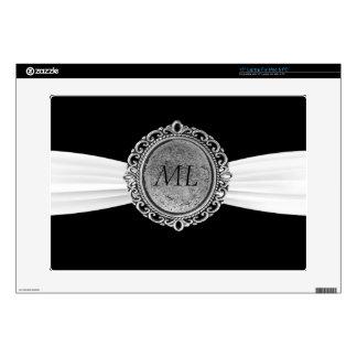 Black With White Ribbon Antique Broach Monogram Laptop Decal