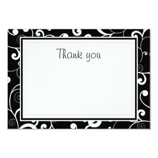 Black with White Scroll Flat Thank You Card
