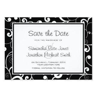 Black with White Scroll Save the Date Card