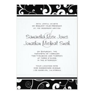 Black with White Scroll Wedding Invitation
