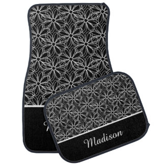 Black with White Sketched Daisies Monogram Car Floor Mat