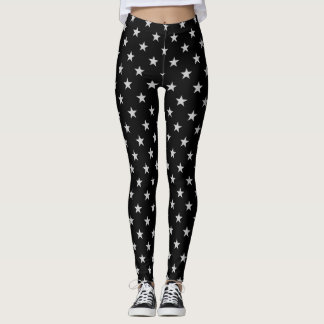 Black With White Stars Leggings