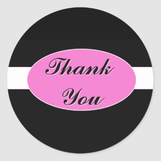 Black with White Stripe and Hot Pink Thank You Classic Round Sticker