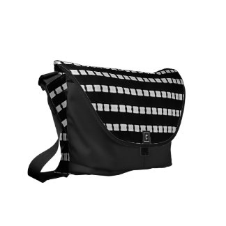 Black with White Stripes Geometric Messenger Bag