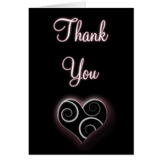 Black with White Swirl Heart Thank You Card