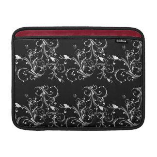 Black with White Swirls MacBook Cover